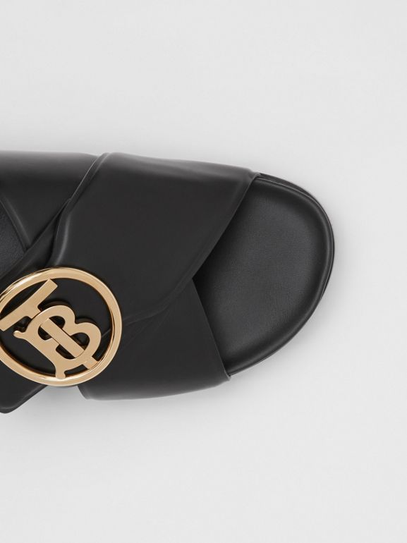 Monogram Motif Leather Slides in Black - Women | Burberry - cell image 1