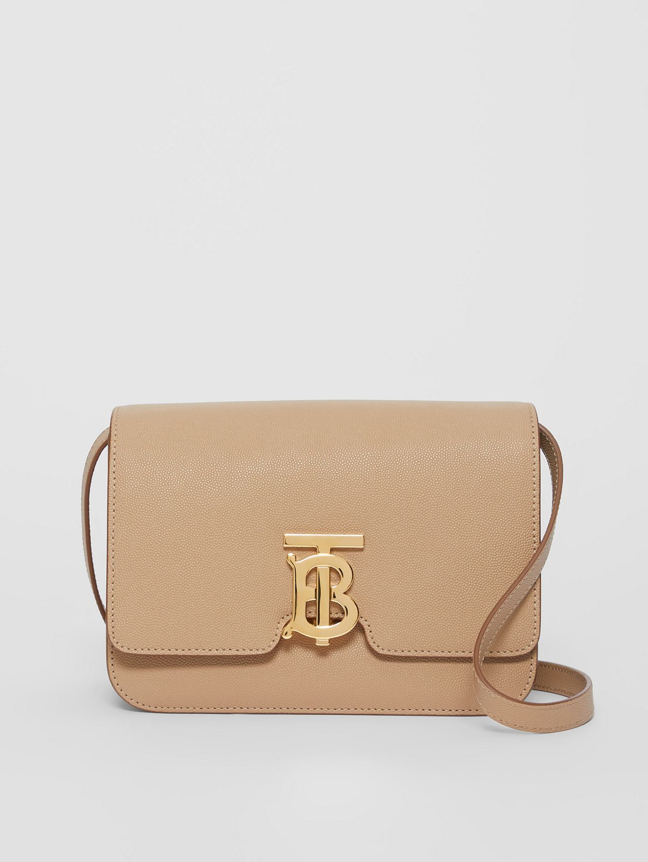 Small Grainy Leather TB Bag in Archive Beige