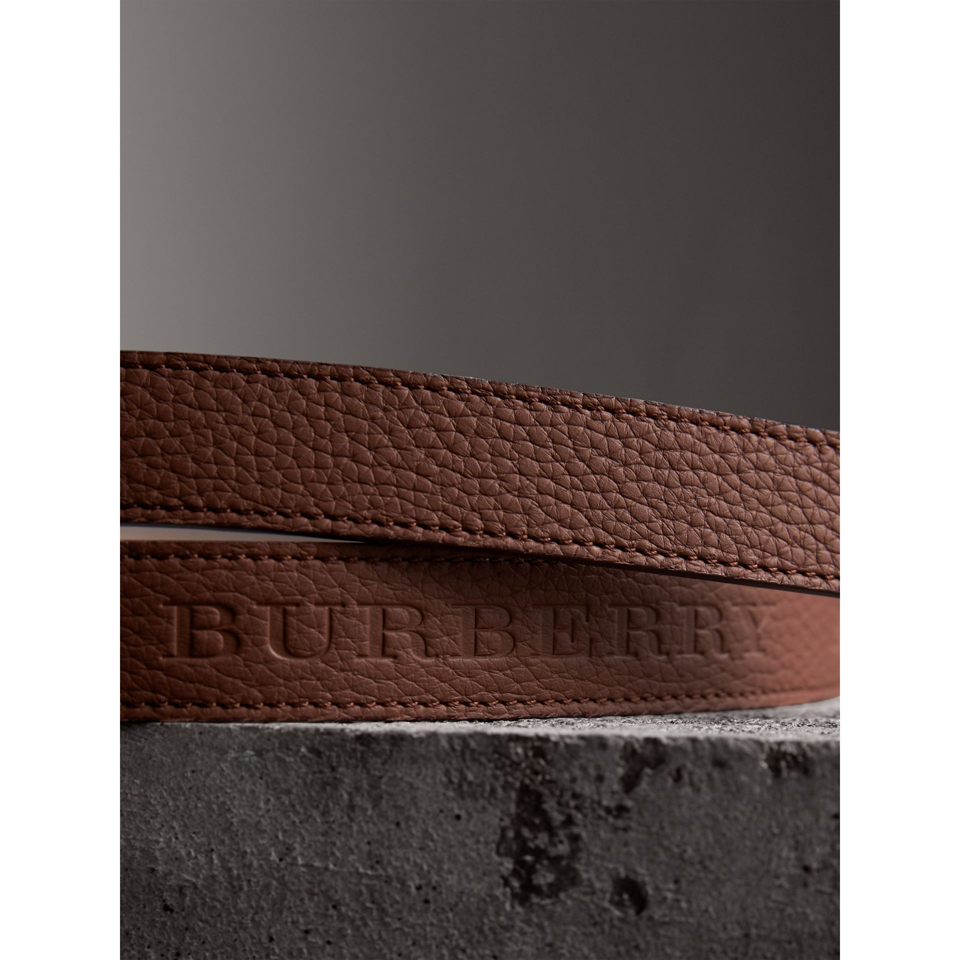 Embossed Leather Belt in Chestnut Brown - Women | Burberry - gallery image 1