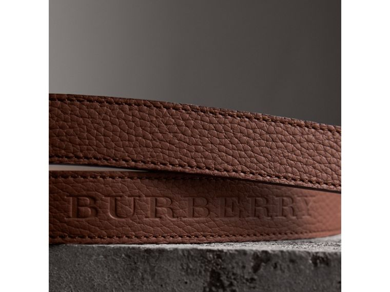 Embossed Leather Belt in Chestnut Brown - Women | Burberry - cell image 1