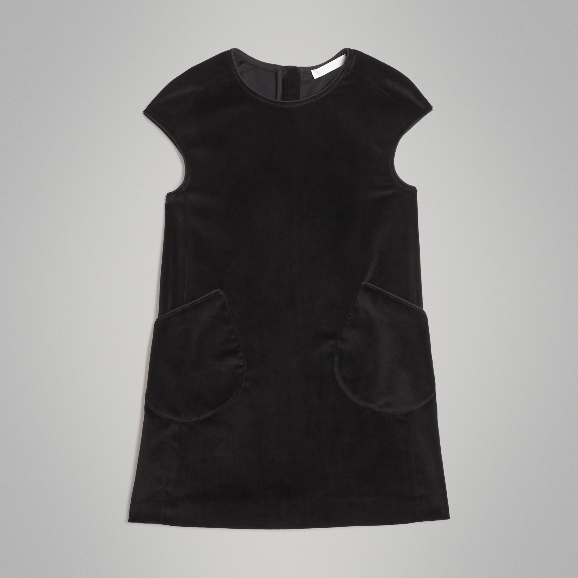 Piping Detail Velvet Shift Dress in Black | Burberry Canada - gallery image 0