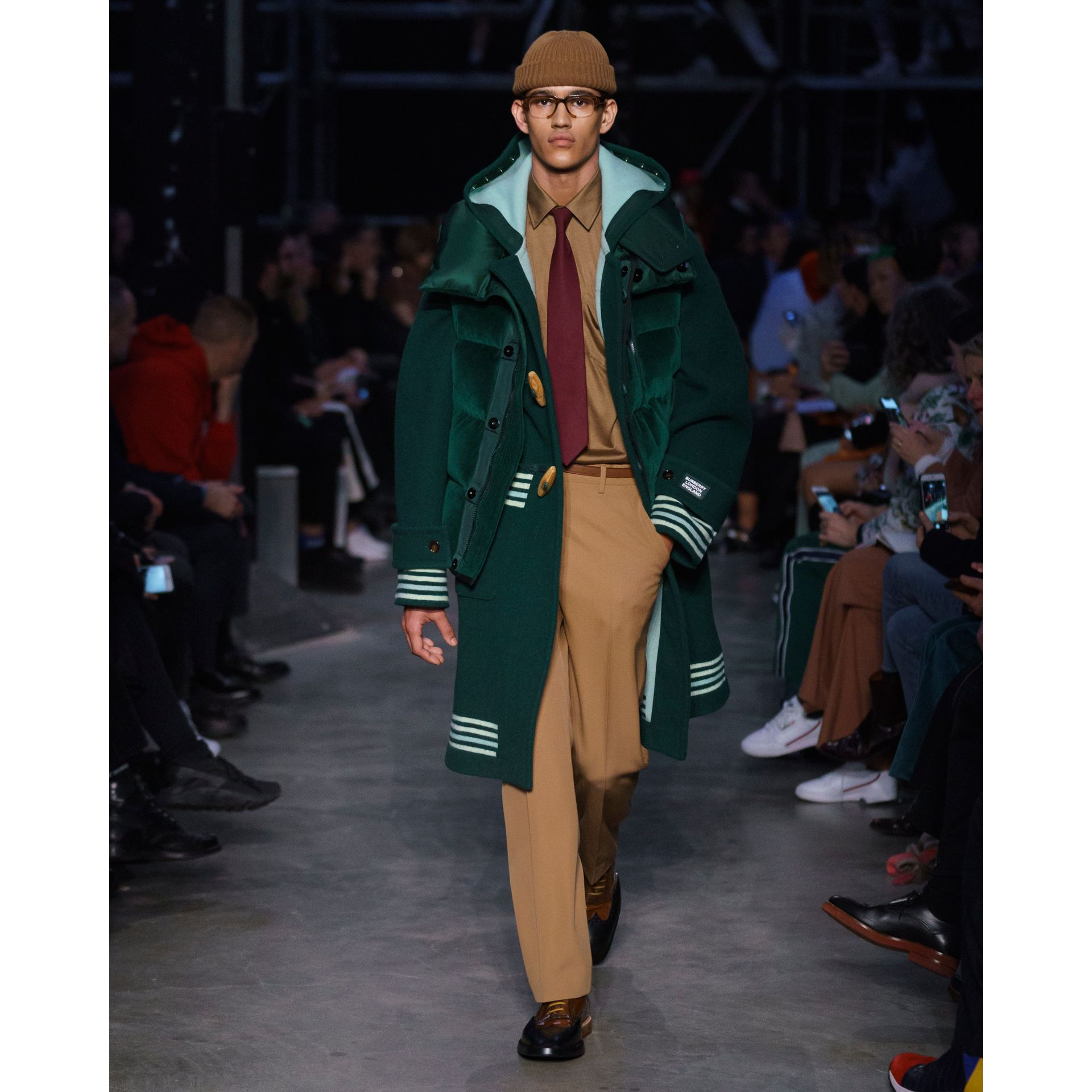 Stripe Detail Double-faced Wool Duffle Coat in Dark Pine Green - Men | Burberry - gallery image 7