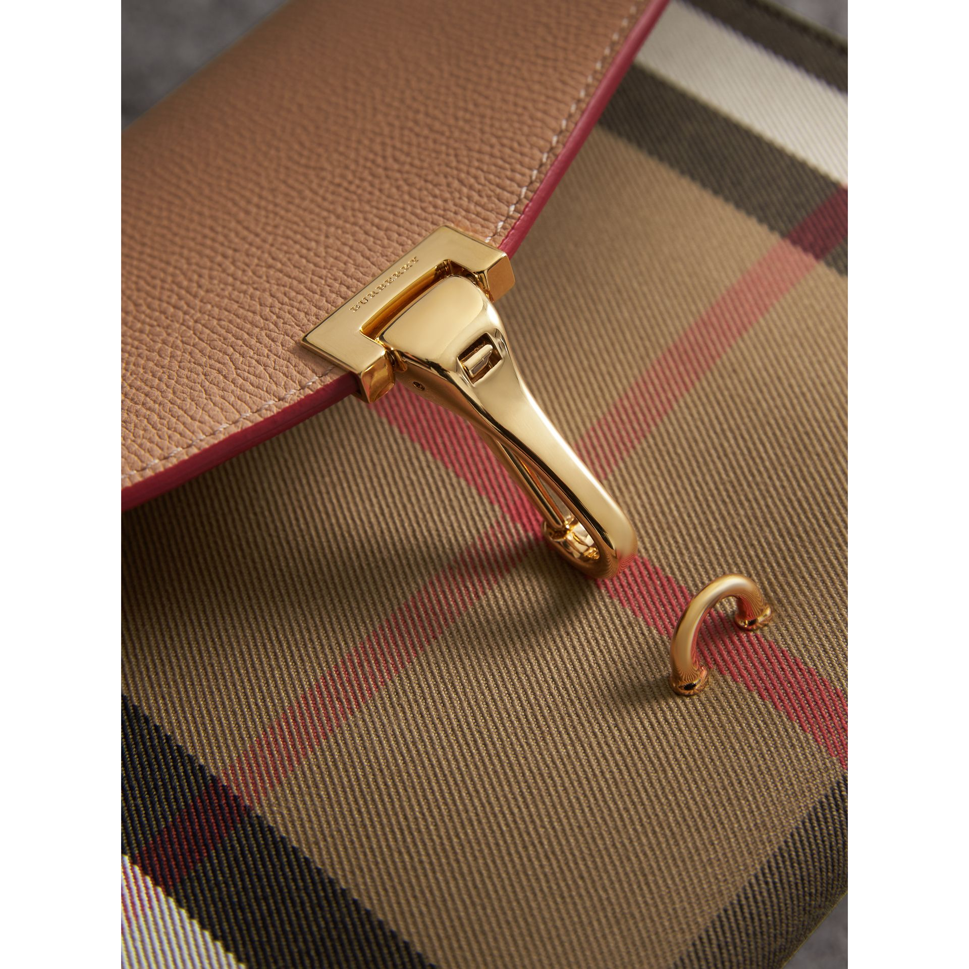 Small Leather and House Check Crossbody Bag in Pale Apricot - Women | Burberry Australia - gallery image 2