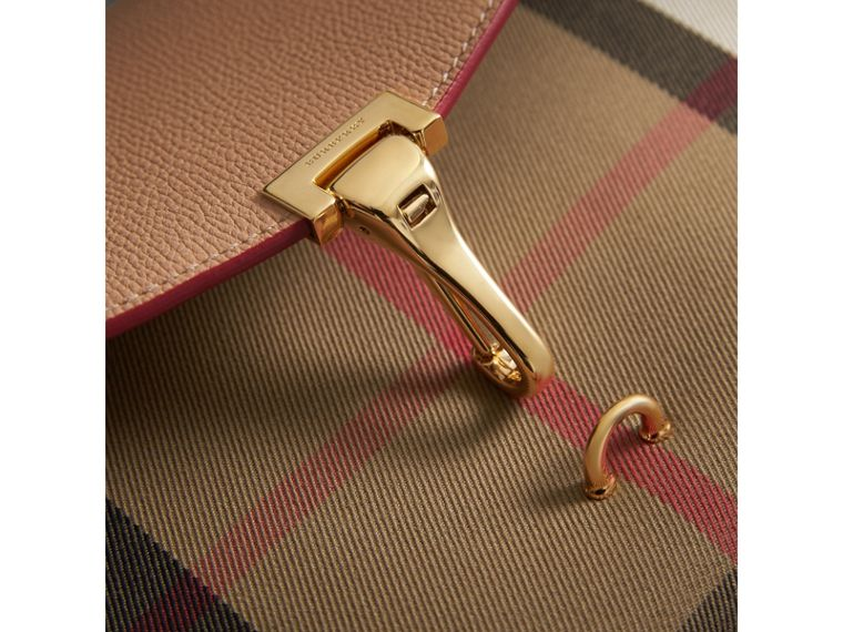 Small Leather and House Check Crossbody Bag in Pale Apricot - Women | Burberry Australia - cell image 1
