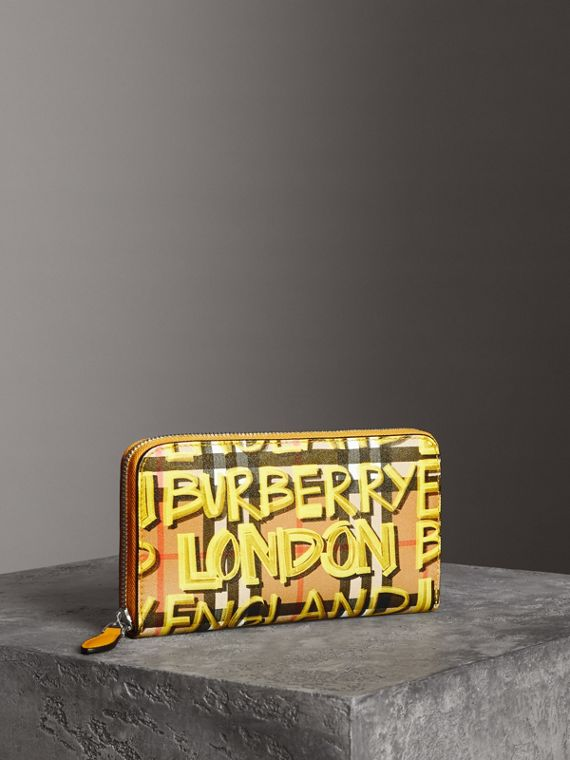 塗鴉印花 Vintage 格紋皮革環繞式拉鍊皮夾 (黃色)