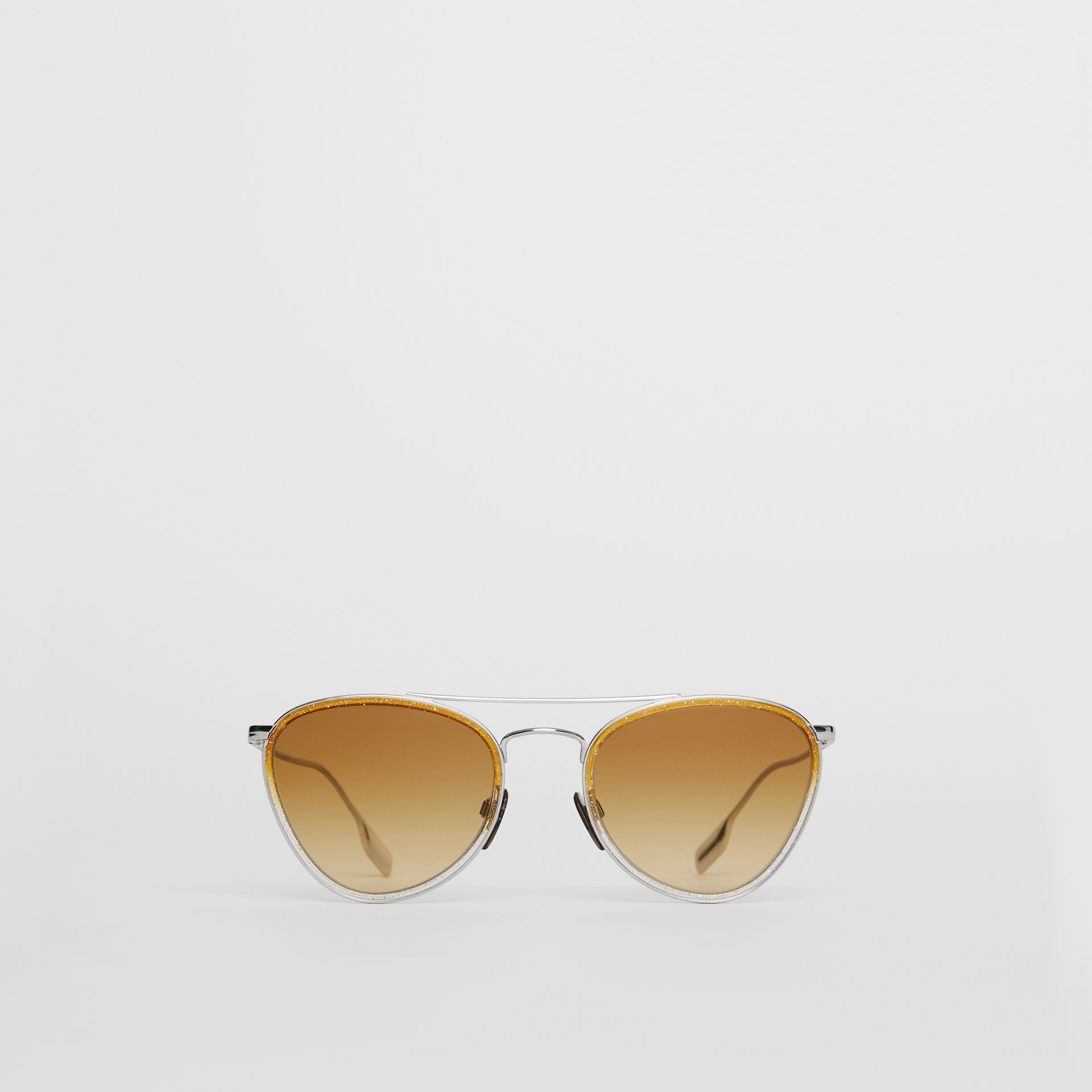 Glitter Detail Pilot Sunglasses in Yellow - Women | Burberry Australia - gallery image 0