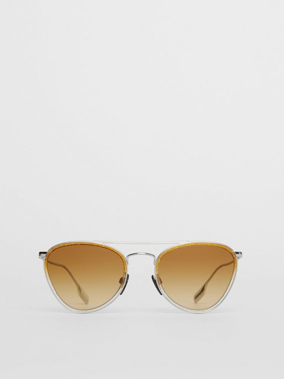 Glitter Detail Pilot Sunglasses in Yellow