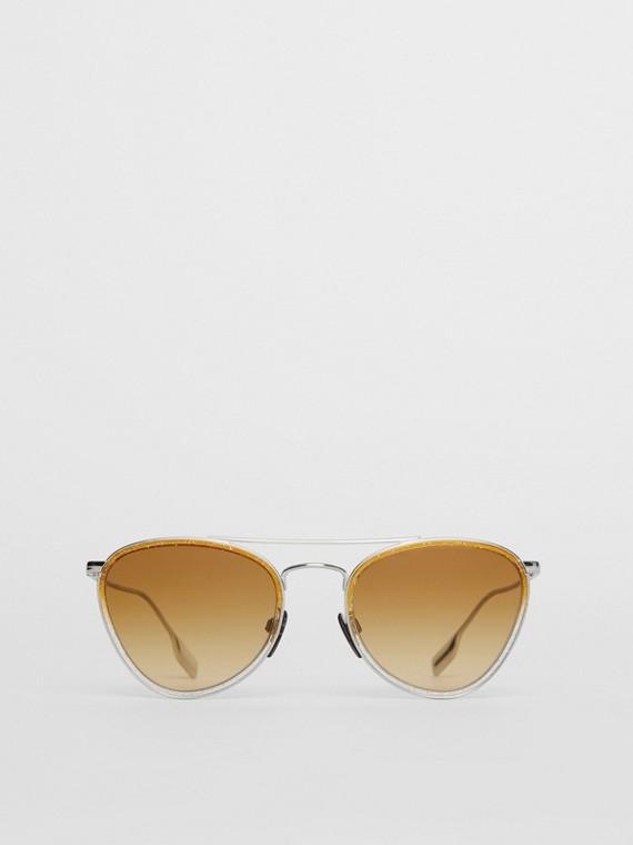Fliegersonnenbrille mit Glitzerverzierung (Gelb)