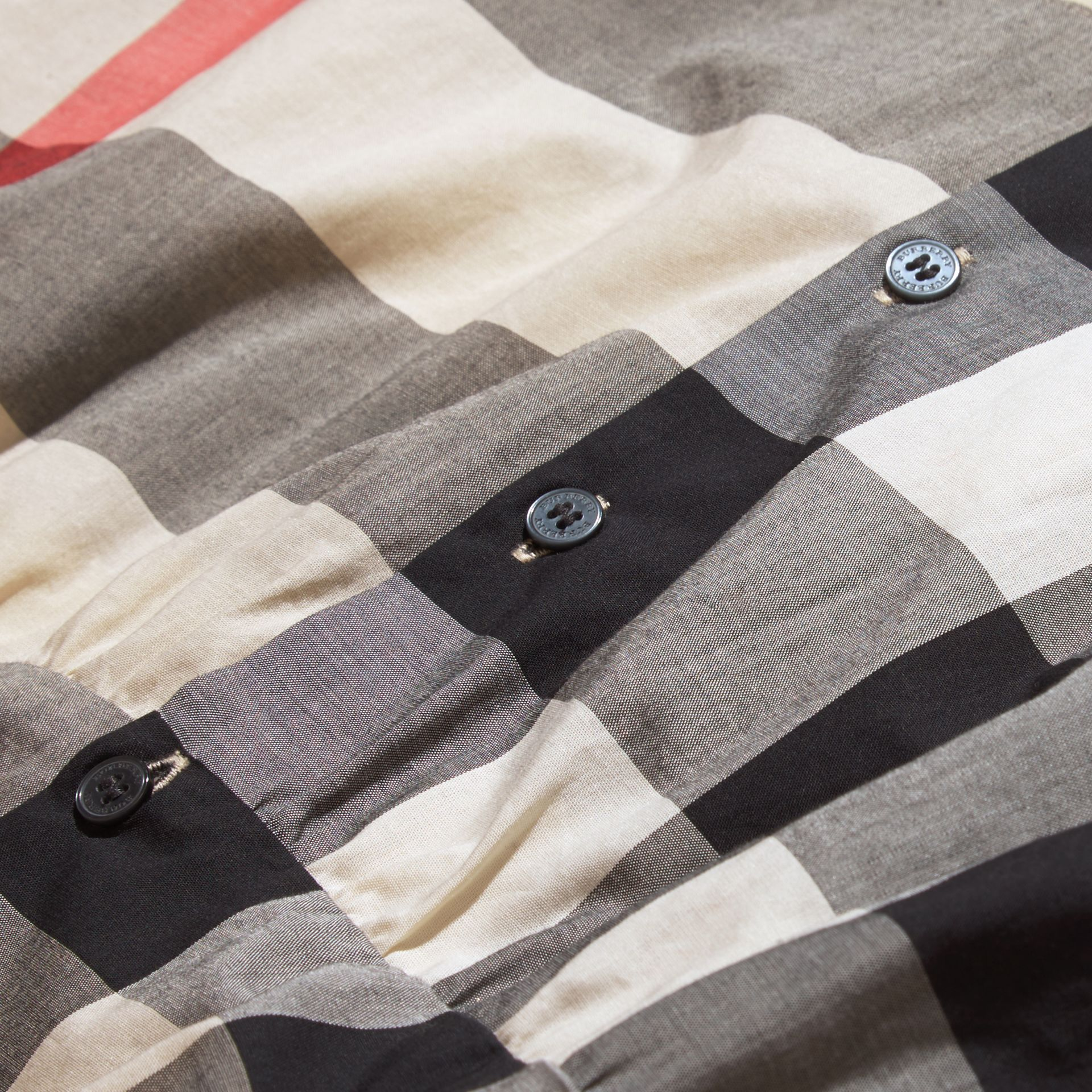 New classic check Puff Sleeve Check Cotton Blouse New Classic - gallery image 2