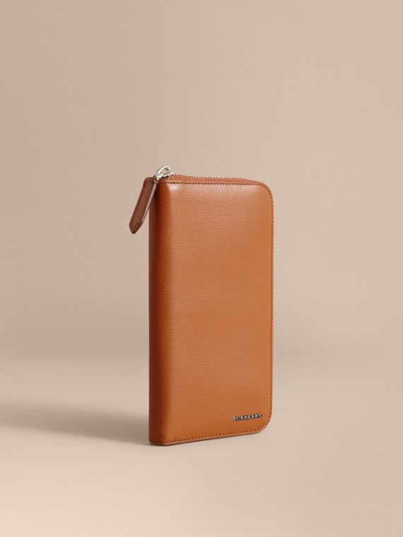 London Leather Ziparound Wallet Tan