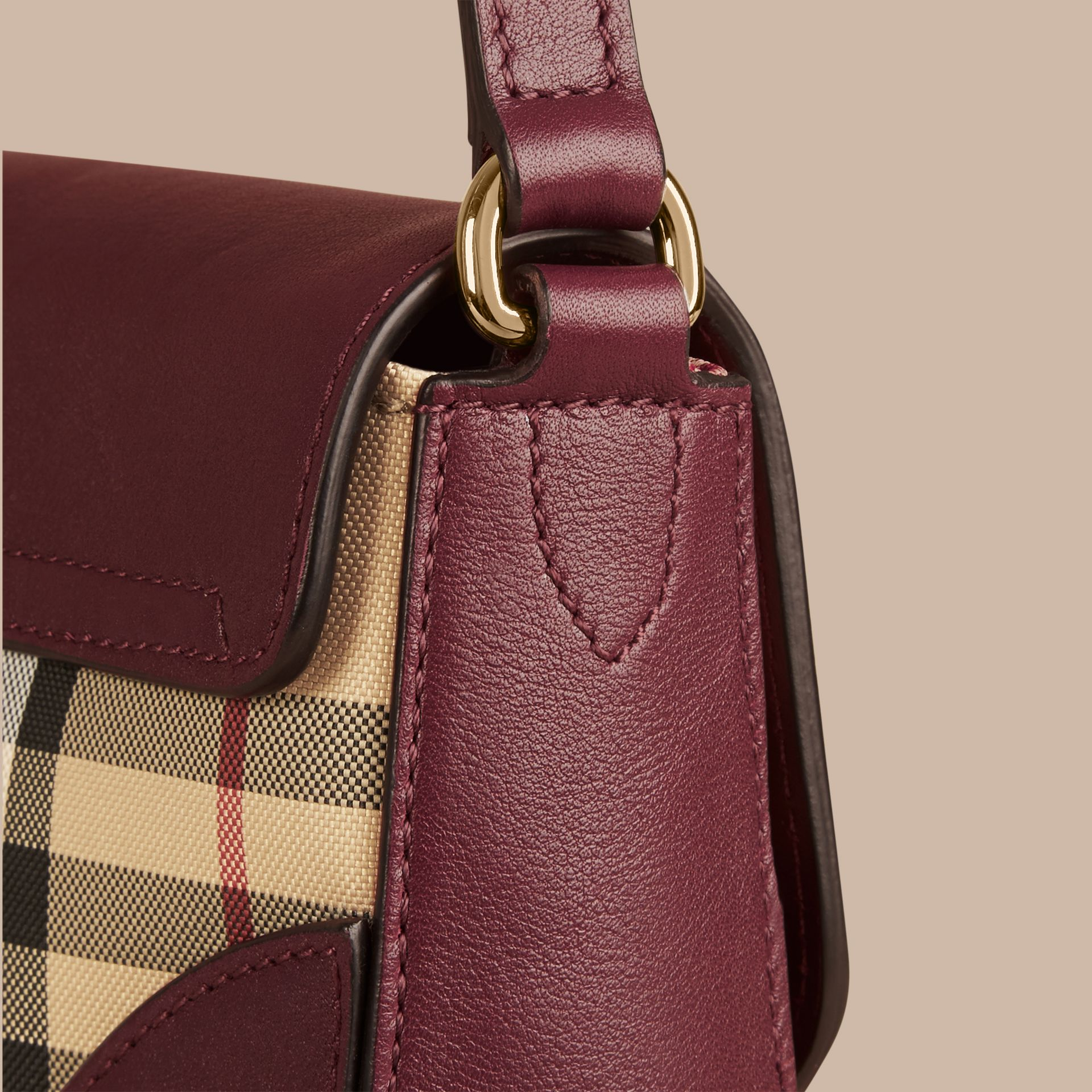 Honey/deep claret Small Horseferry Check and Leather Crossbody Bag Honey/deep Claret - gallery image 5