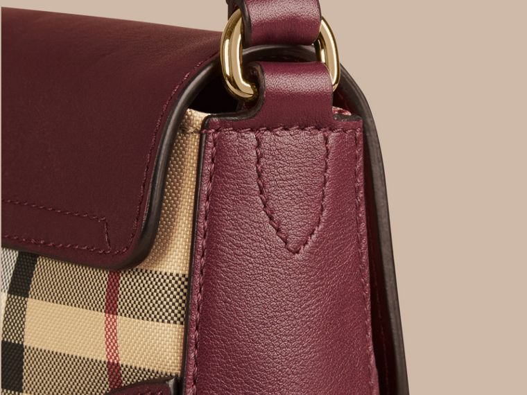 Honey/deep claret Small Horseferry Check and Leather Crossbody Bag Honey/deep Claret - cell image 4