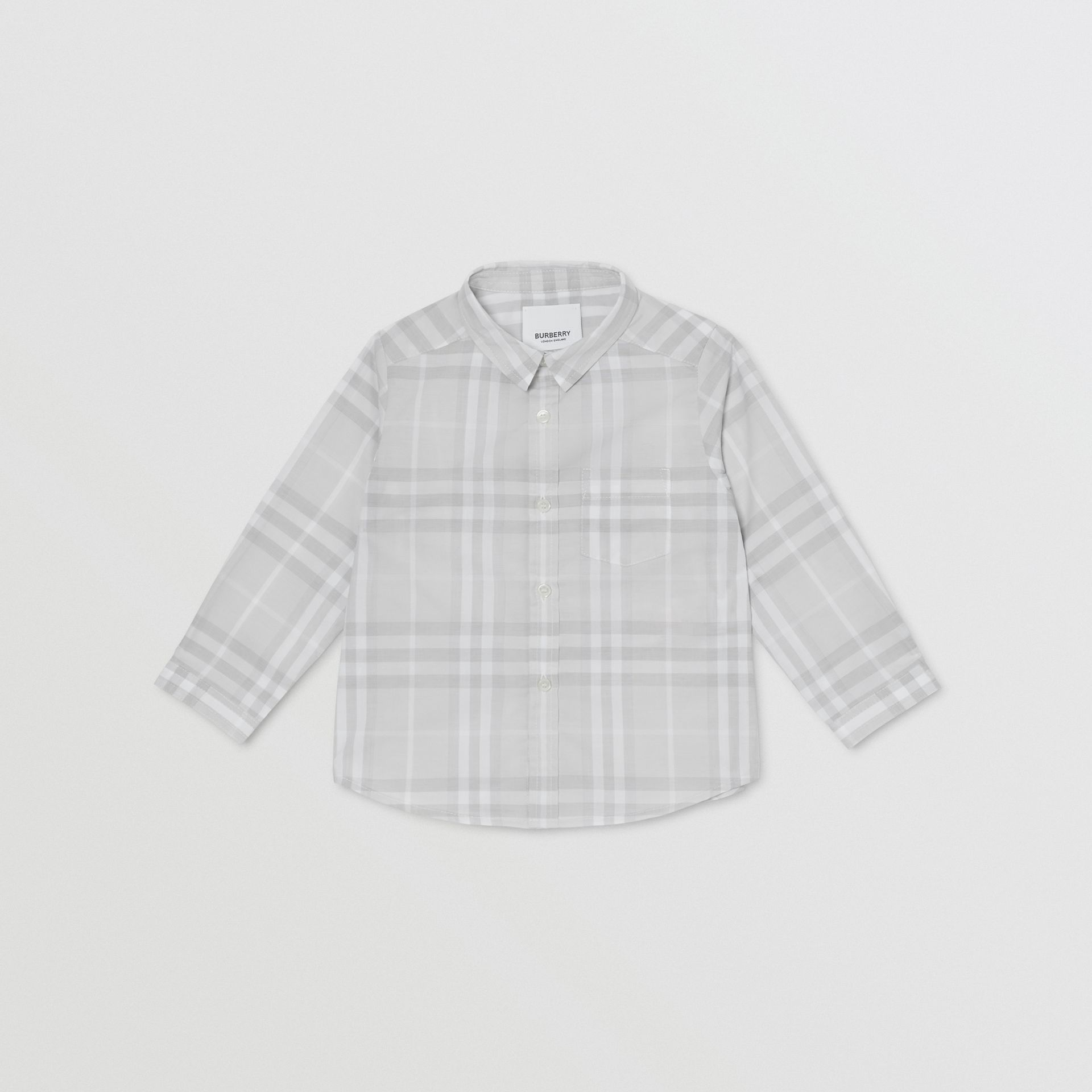 Vintage Check Cotton Shirt in Pale Grey - Children | Burberry - gallery image 0
