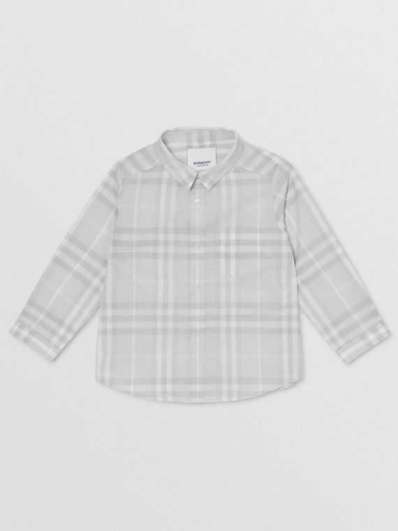 Vintage Check Cotton Shirt in Pale Grey