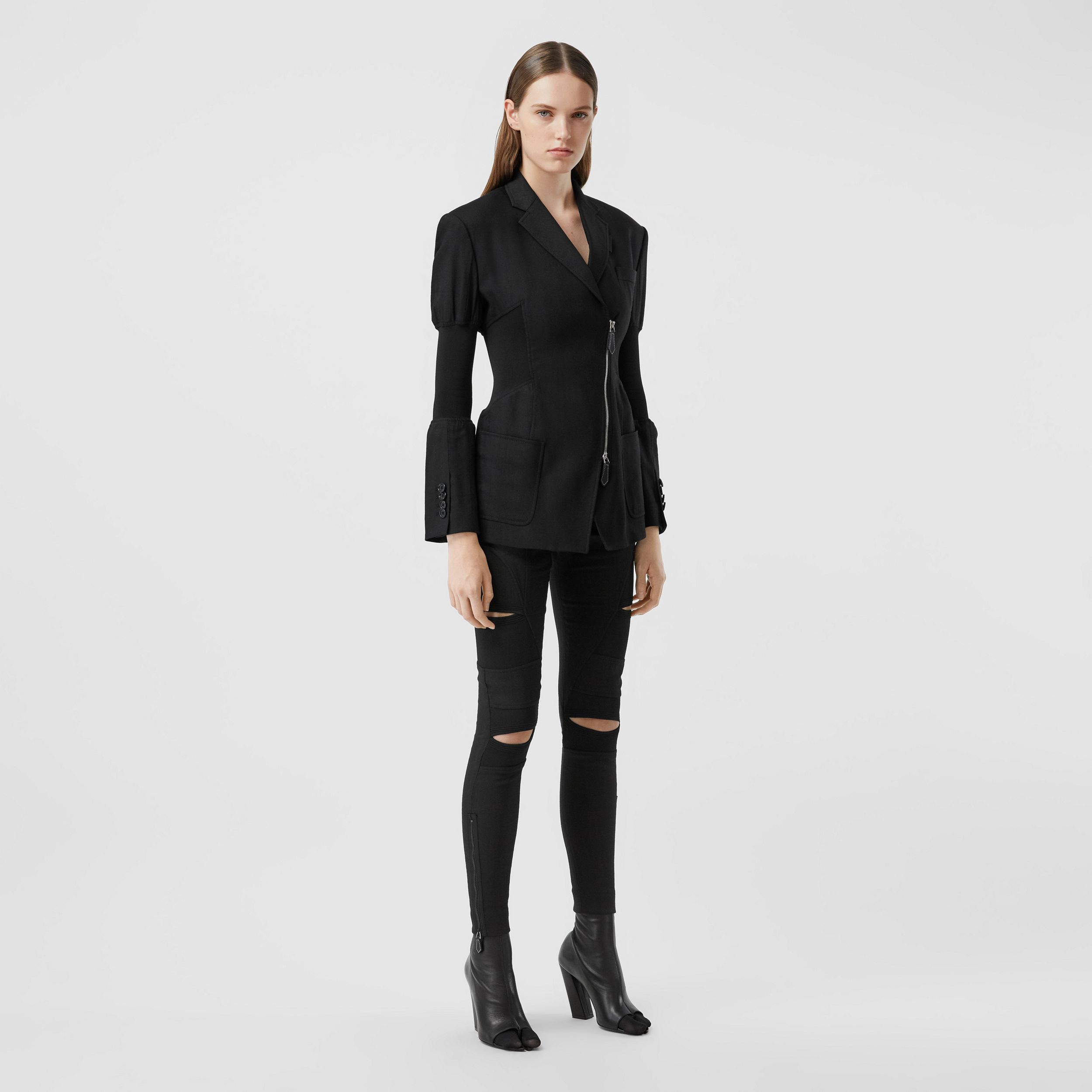 Technical Twill Reconstructed Blazer in Black - Women | Burberry - 1