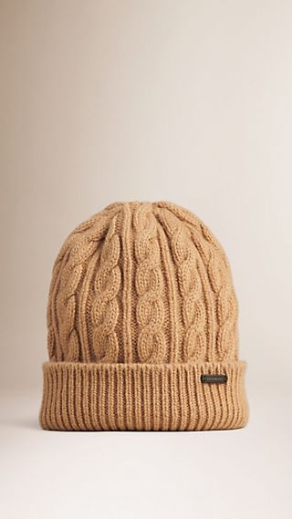 Cable Knit Wool Cashmere Beanie