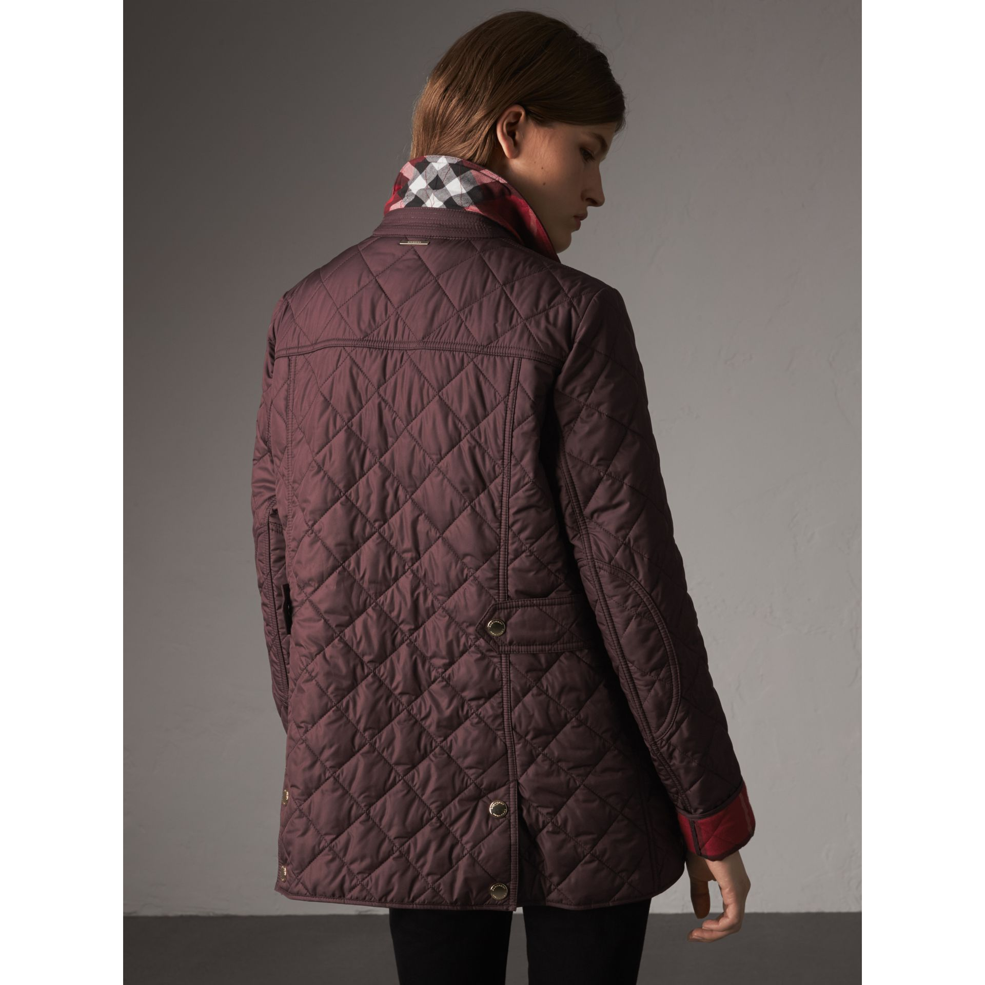 Check Detail Diamond Quilted Jacket in Burgundy - Women | Burberry - gallery image 2