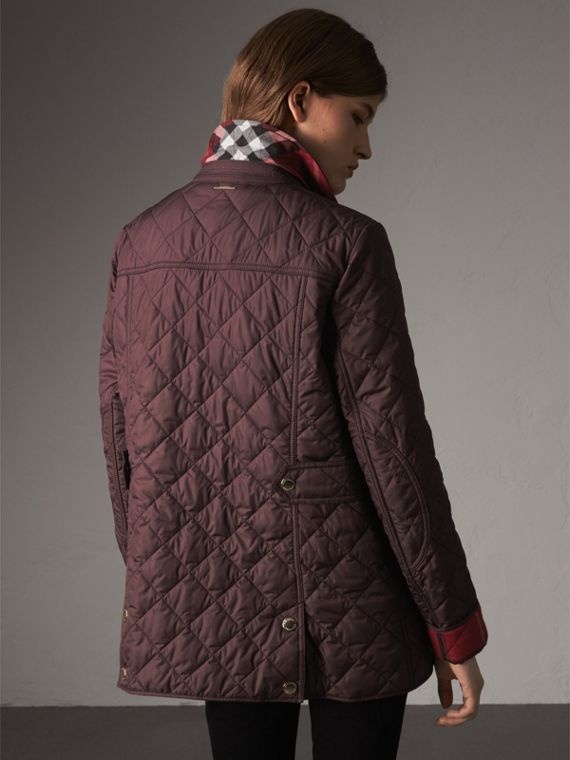 Check Detail Diamond Quilted Jacket in Burgundy - Women | Burberry - cell image 2