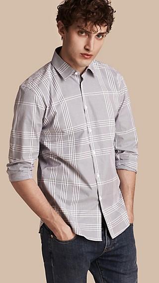 Camisa en algodón con estampado de checks