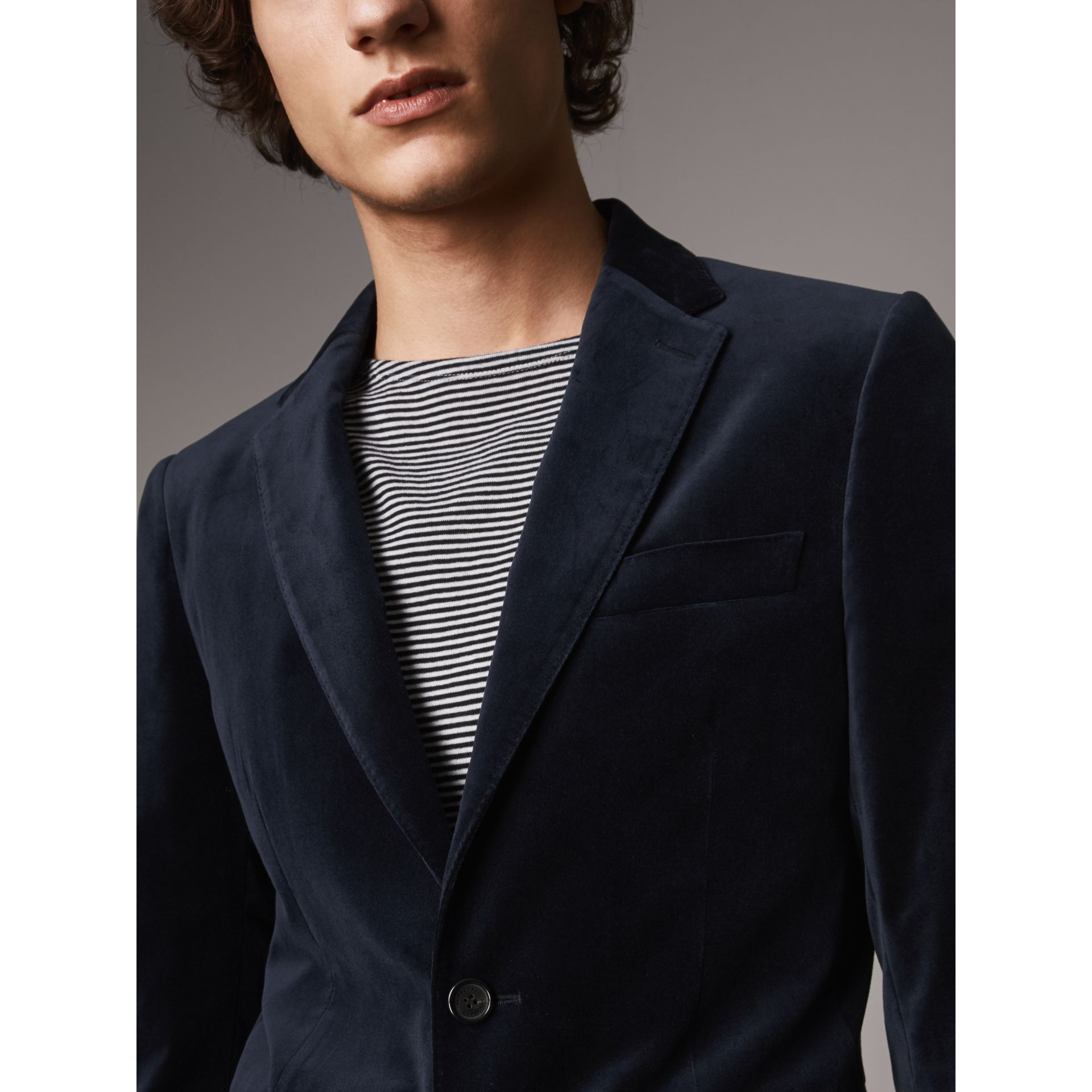 Soho Fit Velvet Tailored Jacket in Navy - Men | Burberry - gallery image 2