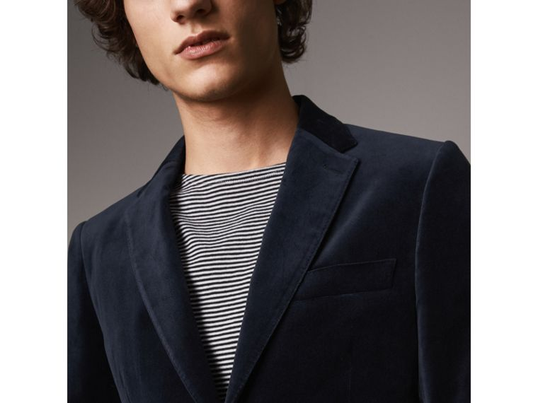 Soho Fit Velvet Tailored Jacket in Navy - Men | Burberry Hong Kong - cell image 1