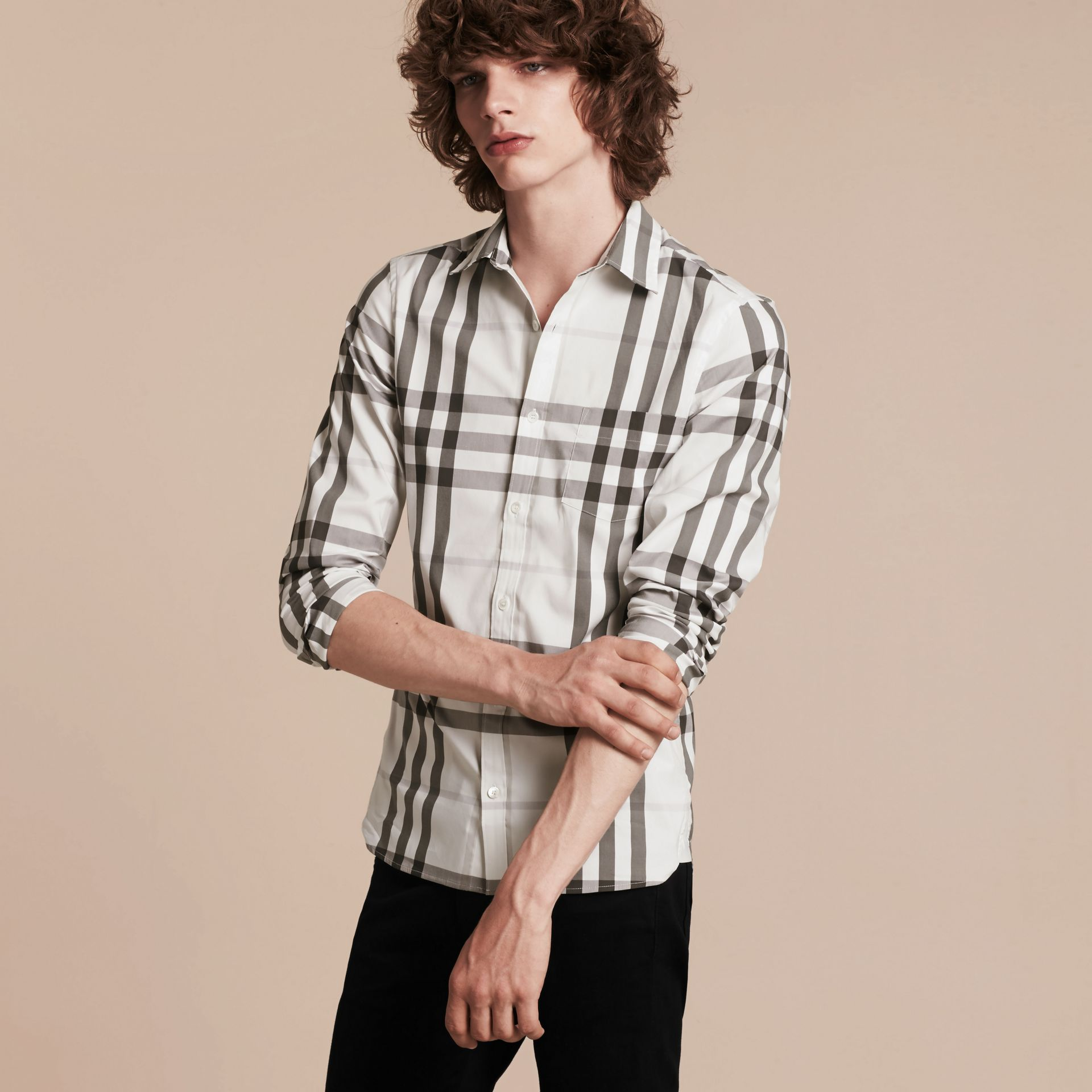 Natural white Check Stretch Cotton Shirt Natural White - gallery image 4
