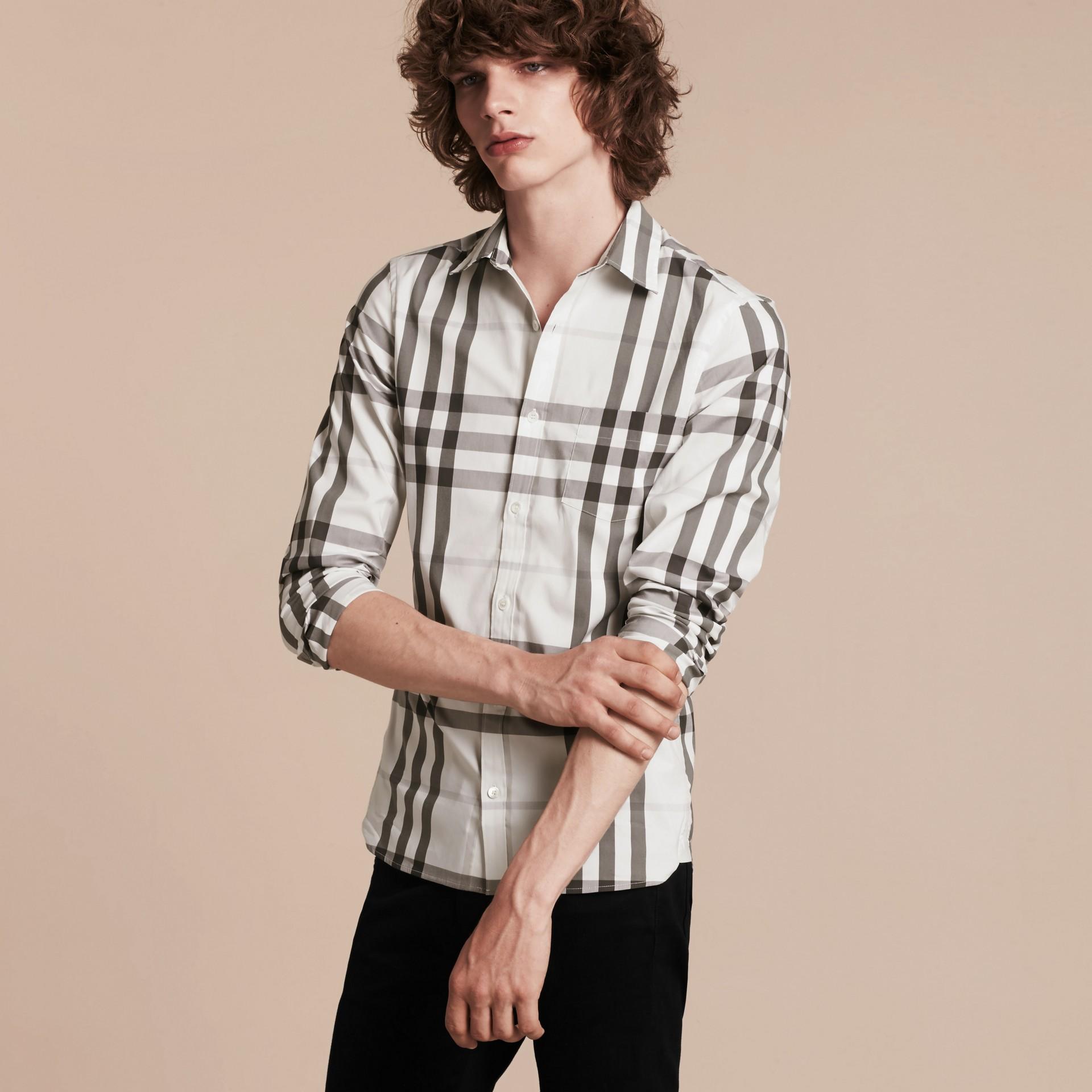 Bianco naturale Camicia in cotone stretch con motivo check Bianco Naturale - immagine della galleria 4