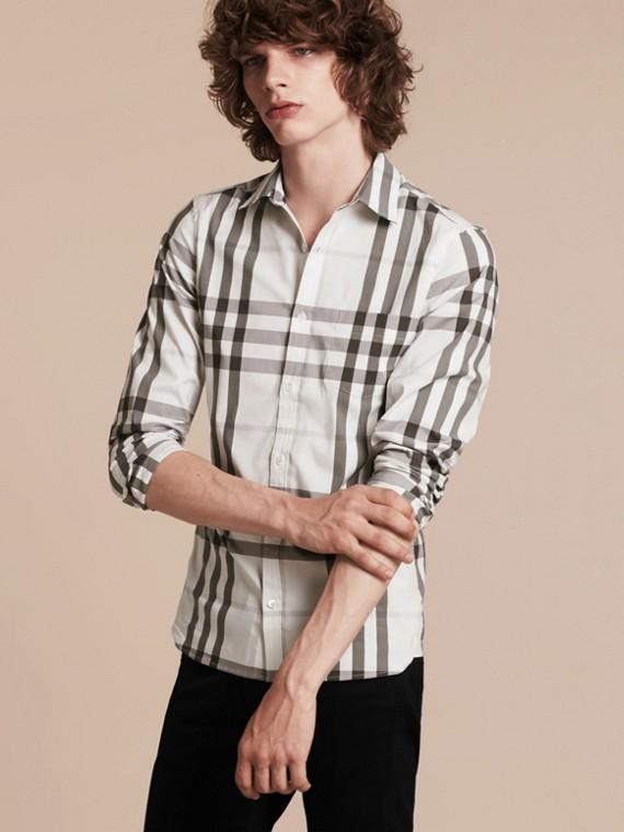 Bianco naturale Camicia in cotone stretch con motivo check Bianco Naturale - cell image 3