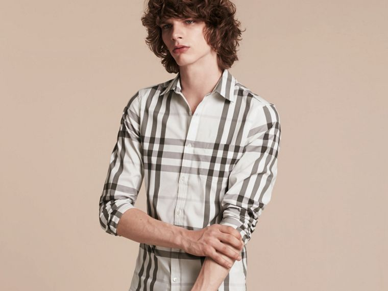 Natural white Check Stretch Cotton Shirt Natural White - cell image 4