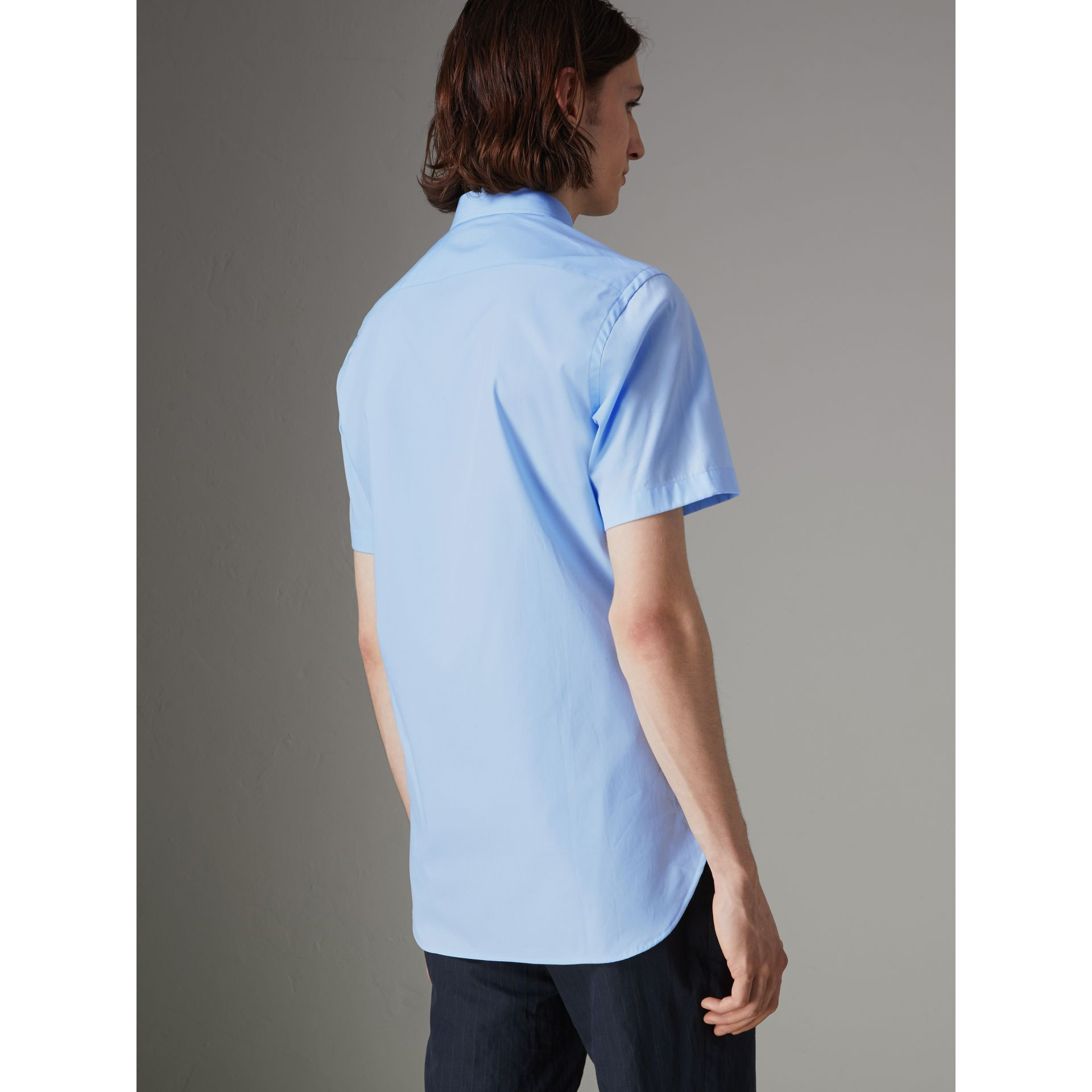Short-sleeve Stretch Cotton Shirt in Pale Blue - Men | Burberry United Kingdom - gallery image 2