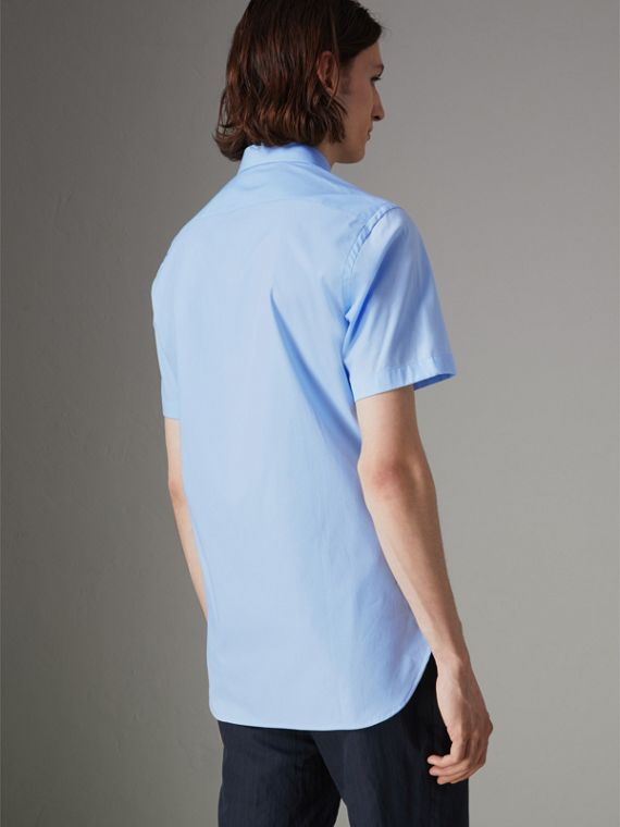 Short-sleeve Stretch Cotton Shirt in Pale Blue - Men | Burberry - cell image 2