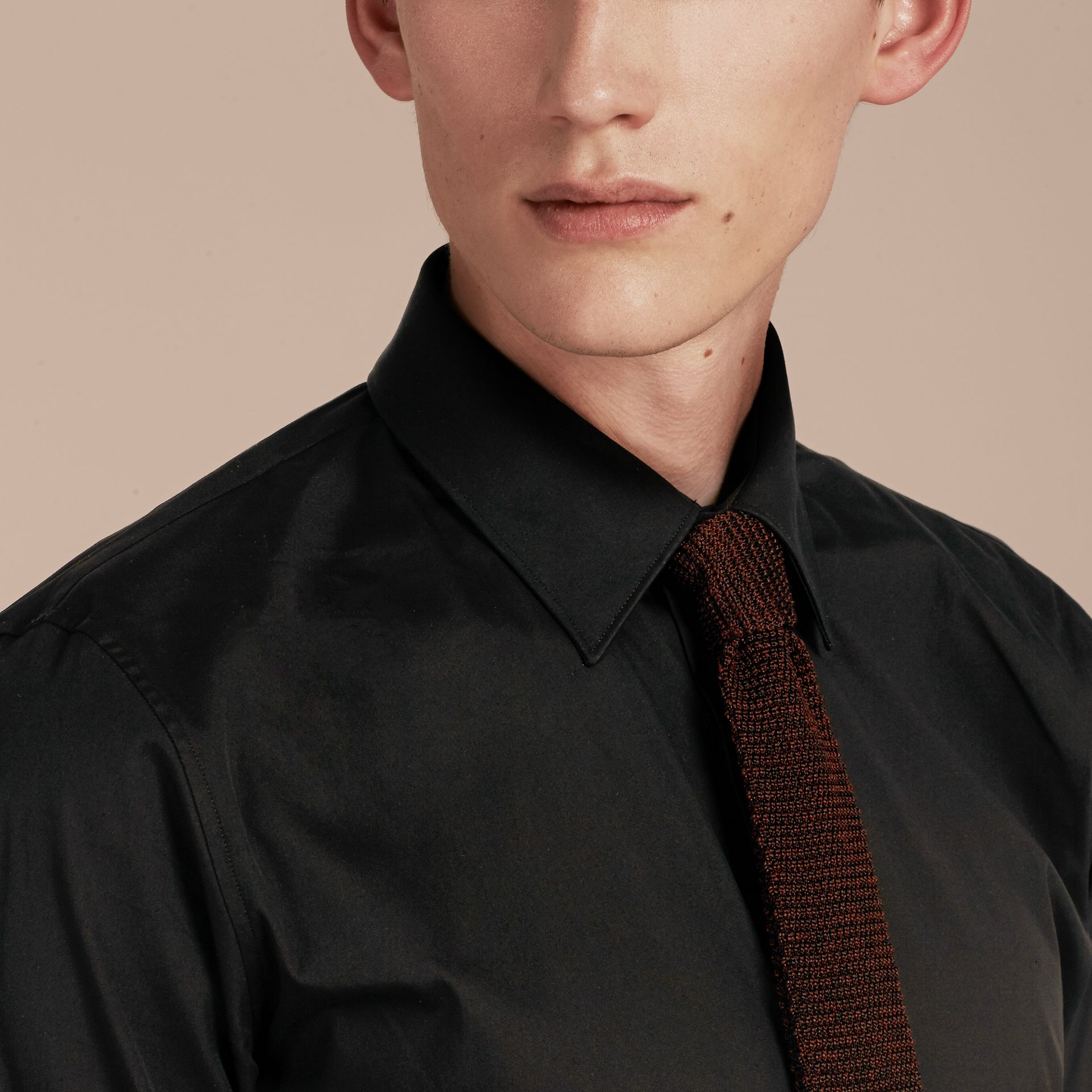 Slim Fit Stretch Cotton Shirt in Black - Men | Burberry Hong Kong - gallery image 5
