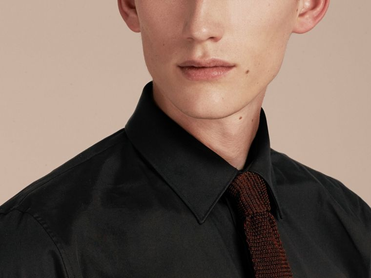 Slim Fit Stretch Cotton Shirt in Black - Men | Burberry Hong Kong - cell image 4