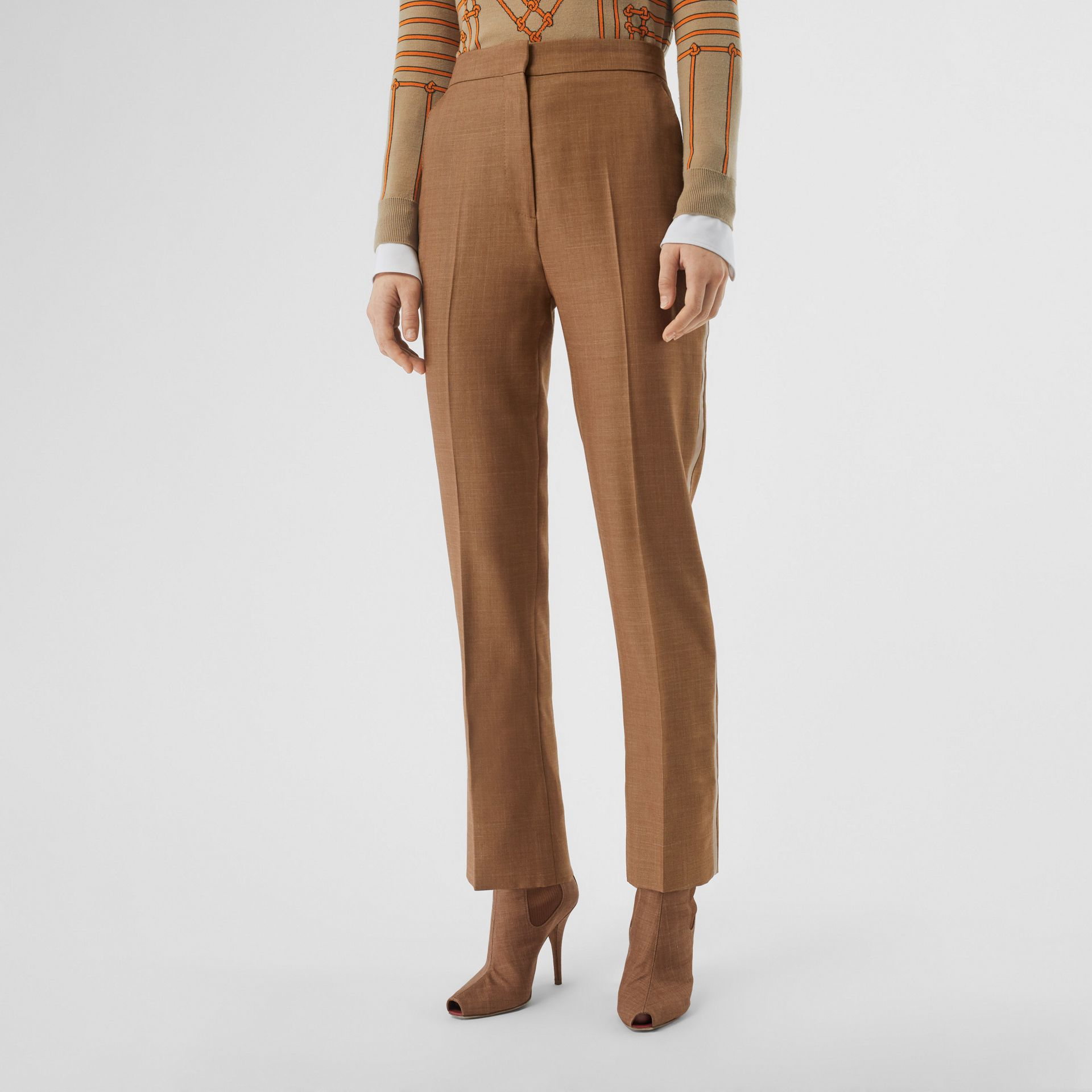 Wool Silk Mohair Linen Tailored Trousers in Bronze - Women | Burberry - gallery image 4