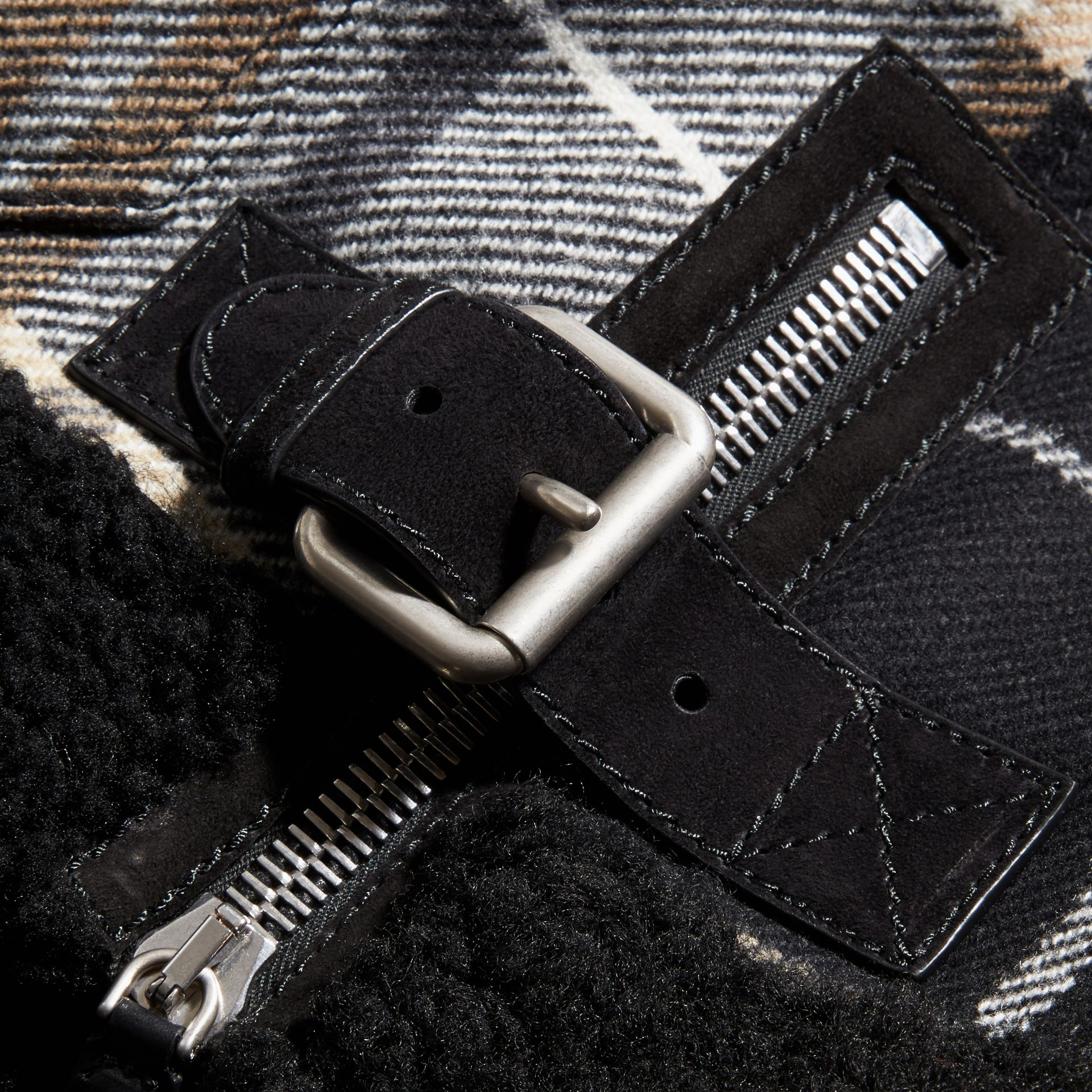 Black Shearling Trim Tartan Wool Flight Jacket - gallery image 2