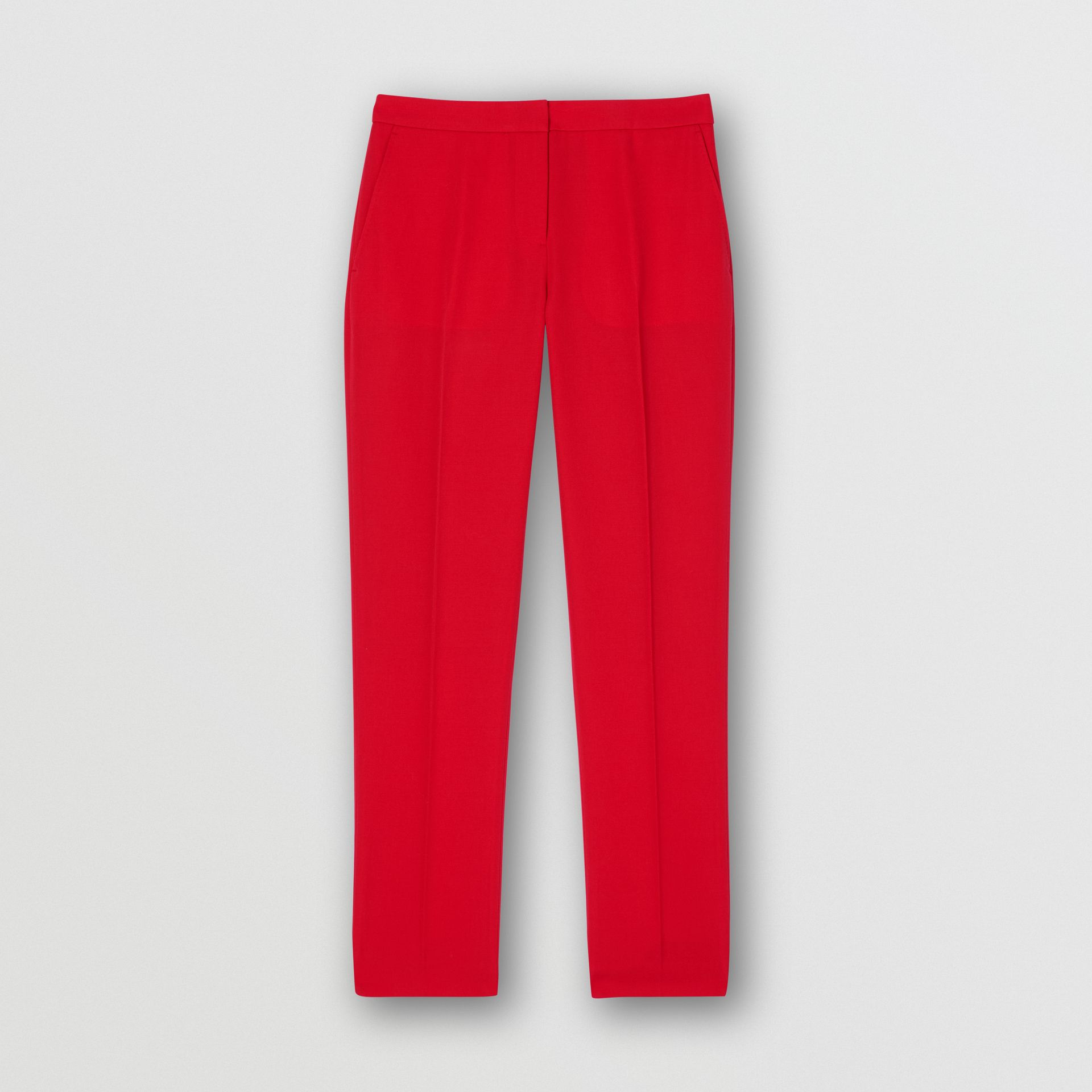 Wool Tailored Trousers in Bright Red - Women | Burberry United Kingdom - gallery image 3