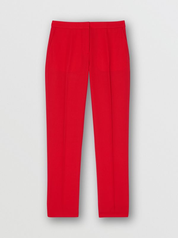 Wool Tailored Trousers in Bright Red - Women | Burberry United Kingdom - cell image 3