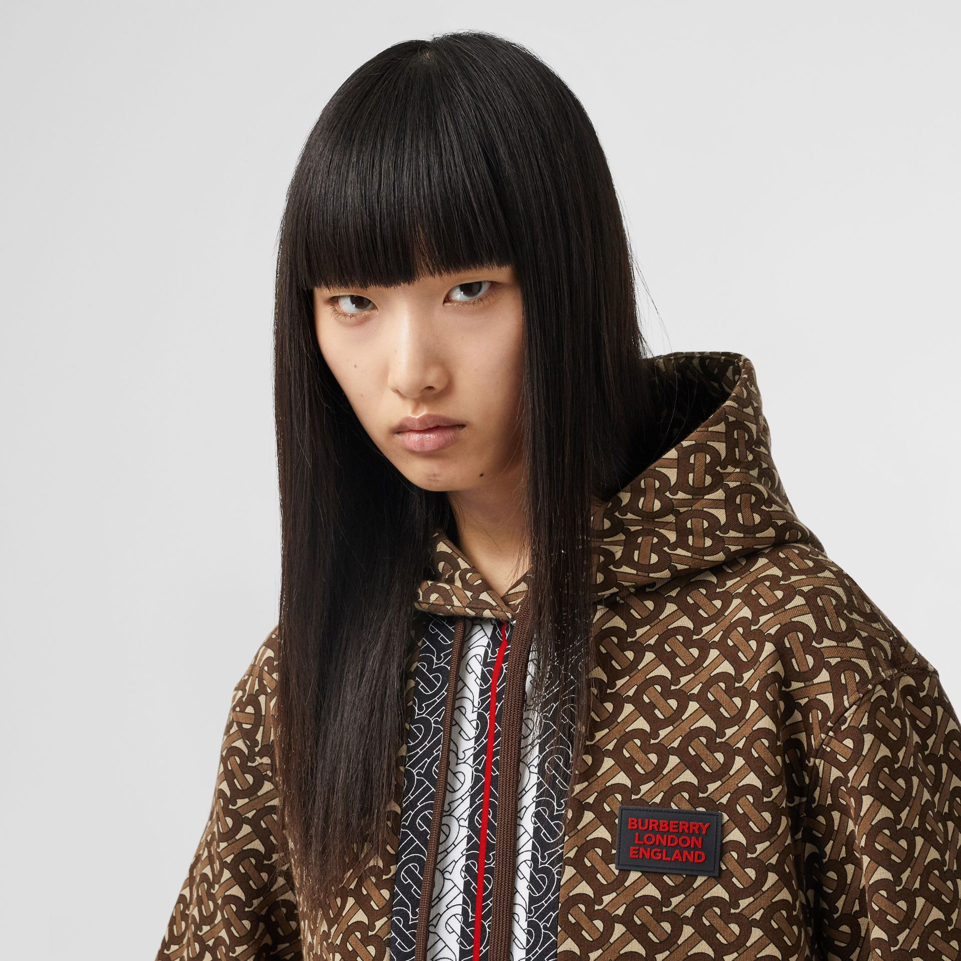 Monogram Stripe Print Cotton Oversized Hoodie in Bridle Brown - Women | Burberry - gallery image 1