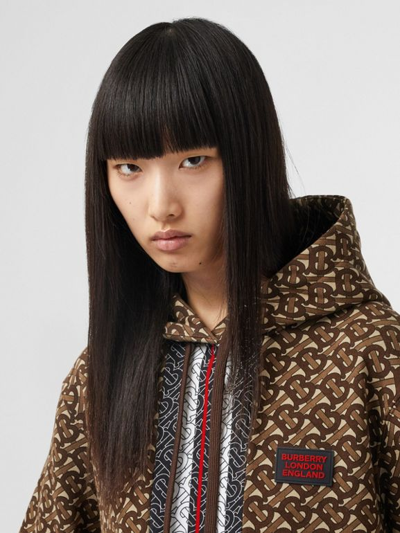 Monogram Stripe Print Cotton Oversized Hoodie in Bridle Brown - Women | Burberry - cell image 1