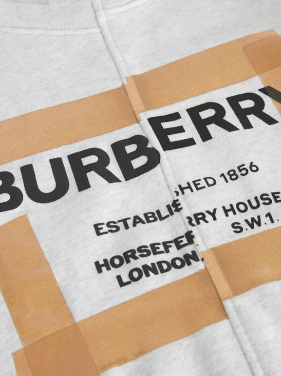 Horseferry Print Cotton Sweatshirt in White Melange | Burberry - cell image 1