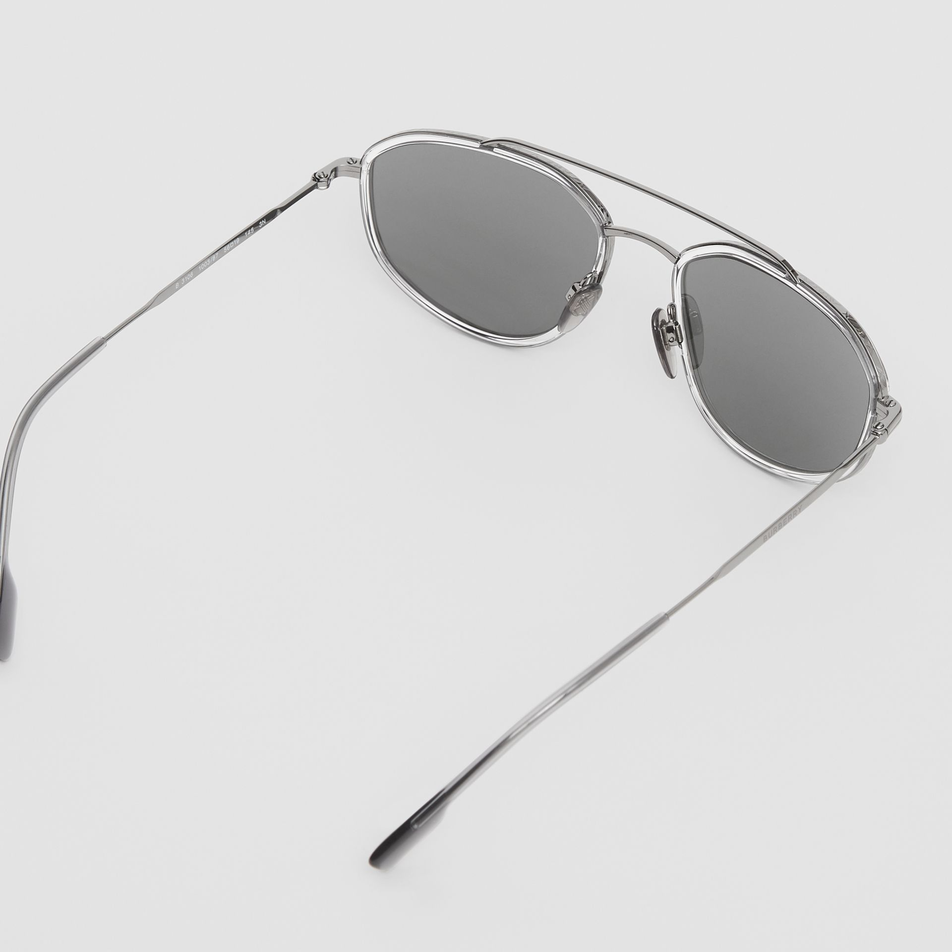 Geometric Navigator Sunglasses in Gunmetal Grey - Men | Burberry United Kingdom - gallery image 4