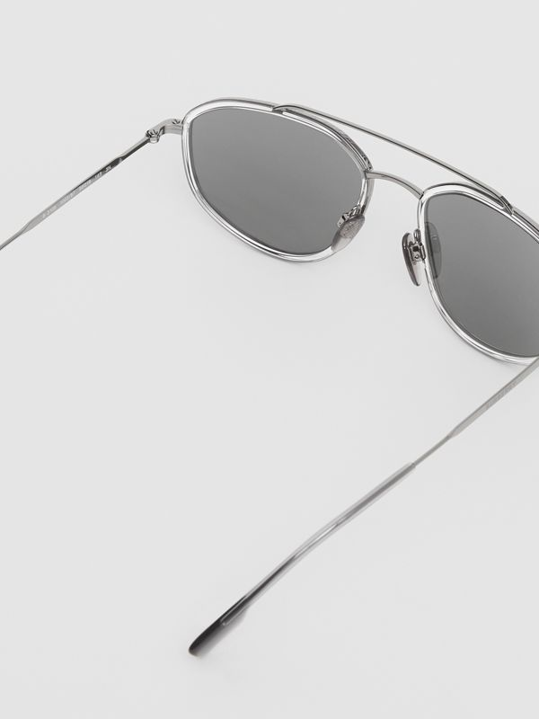 Geometric Navigator Sunglasses in Gunmetal Grey - Men | Burberry - cell image 3