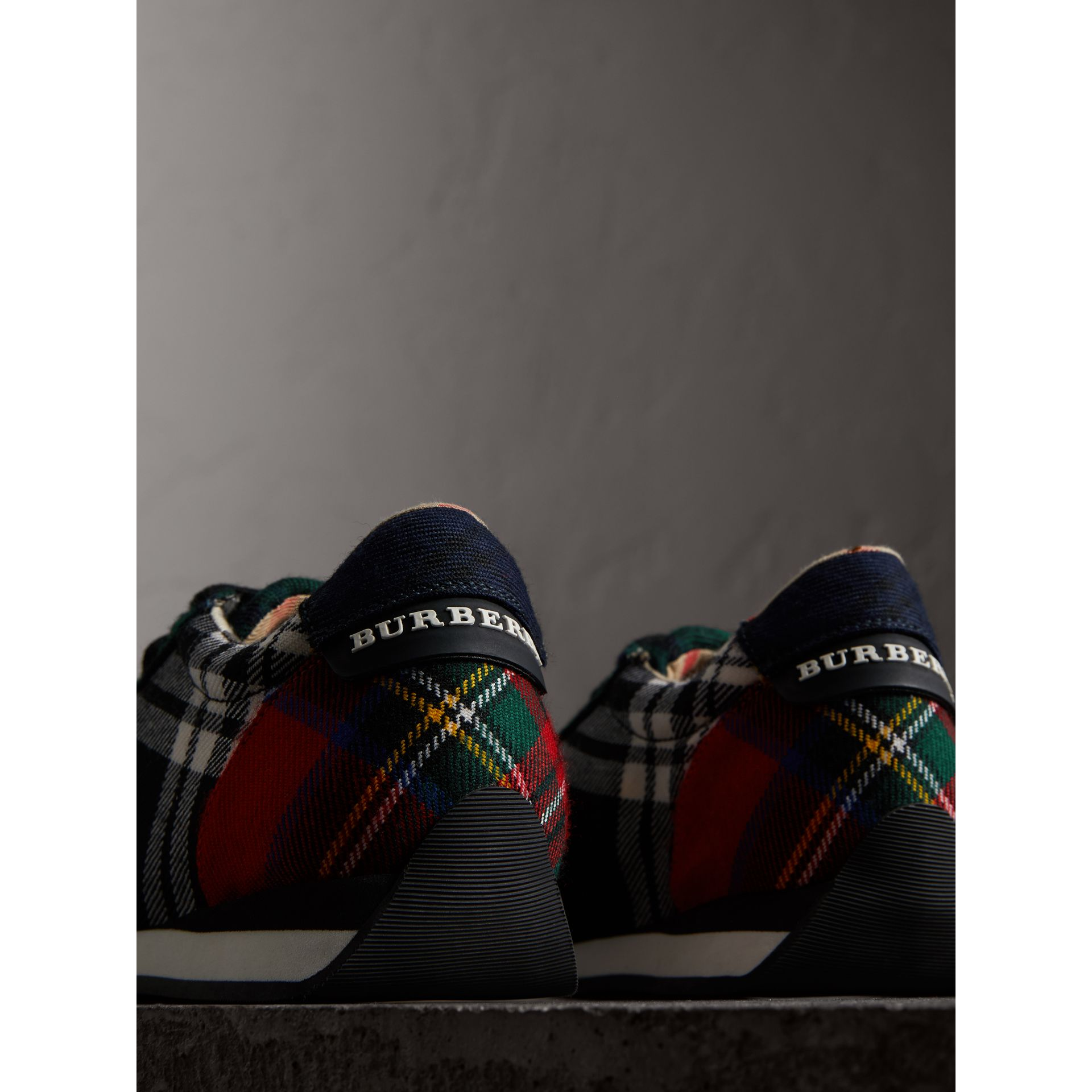 Tartan Wool Sneakers in Black/bright Red - Women | Burberry Hong Kong - gallery image 3