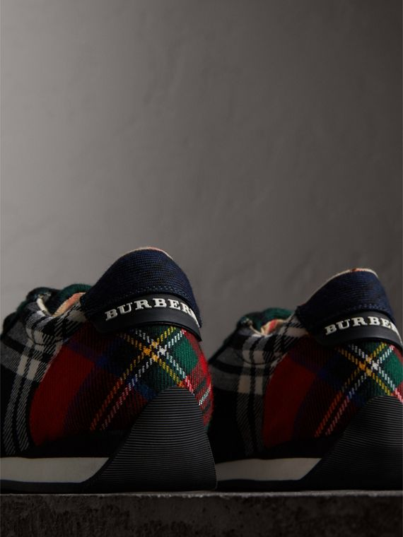 Tartan Wool Trainers in Black/bright Red - Women | Burberry - cell image 3