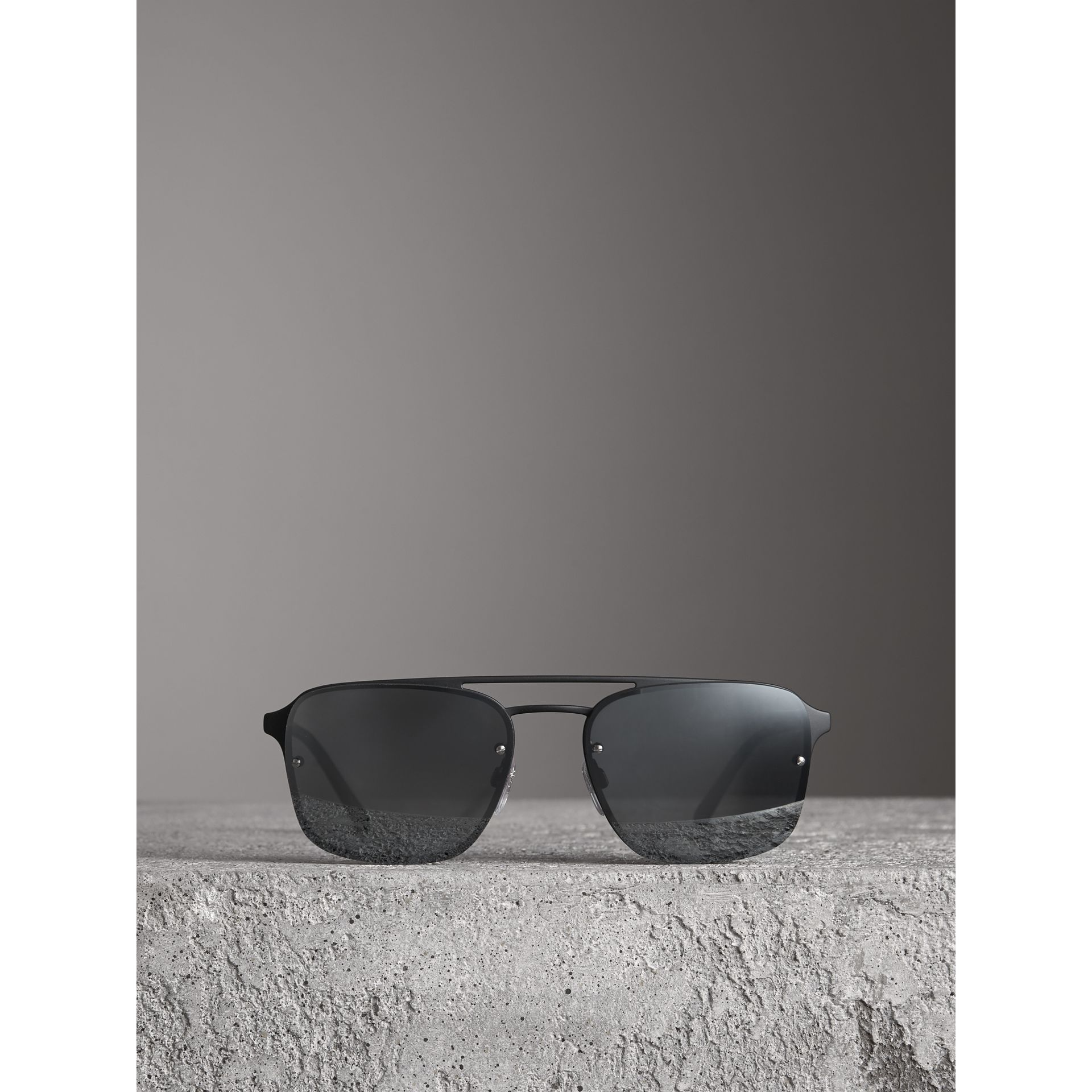 Square Frame Rubberised Metal Sunglasses in Black/grey - Men | Burberry - gallery image 3