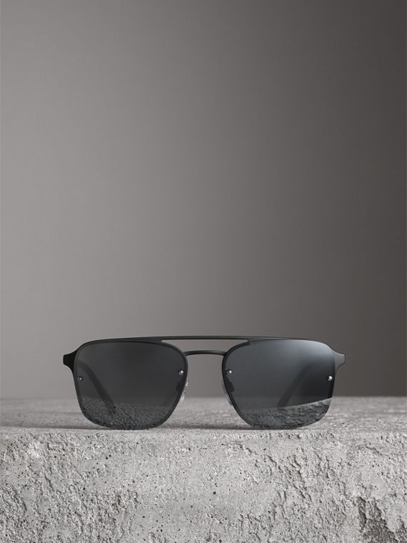 Square Frame Rubberised Metal Sunglasses in Black/grey - Men | Burberry - cell image 3