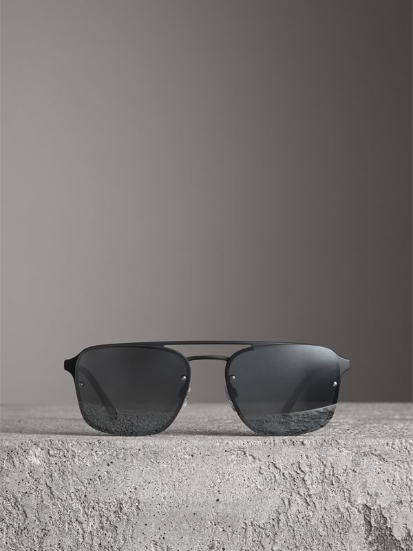 Square Frame Metal Sunglasses in Black/grey - Men | Burberry United Kingdom - cell image 3