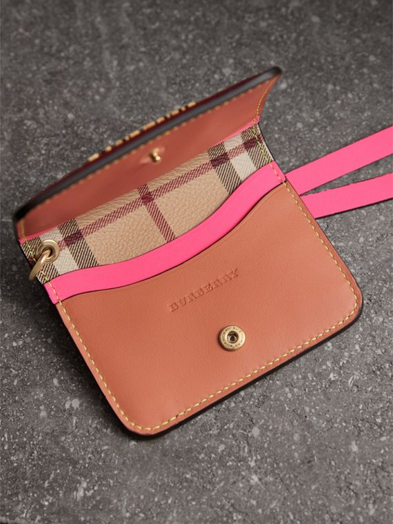 Leather and Haymarket Check ID Card Case Charm in Parade Red/multicolour - Women | Burberry - cell image 3