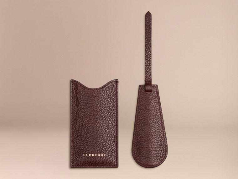 Leather Shoe Horn in Ebony Red - Men | Burberry - cell image 1