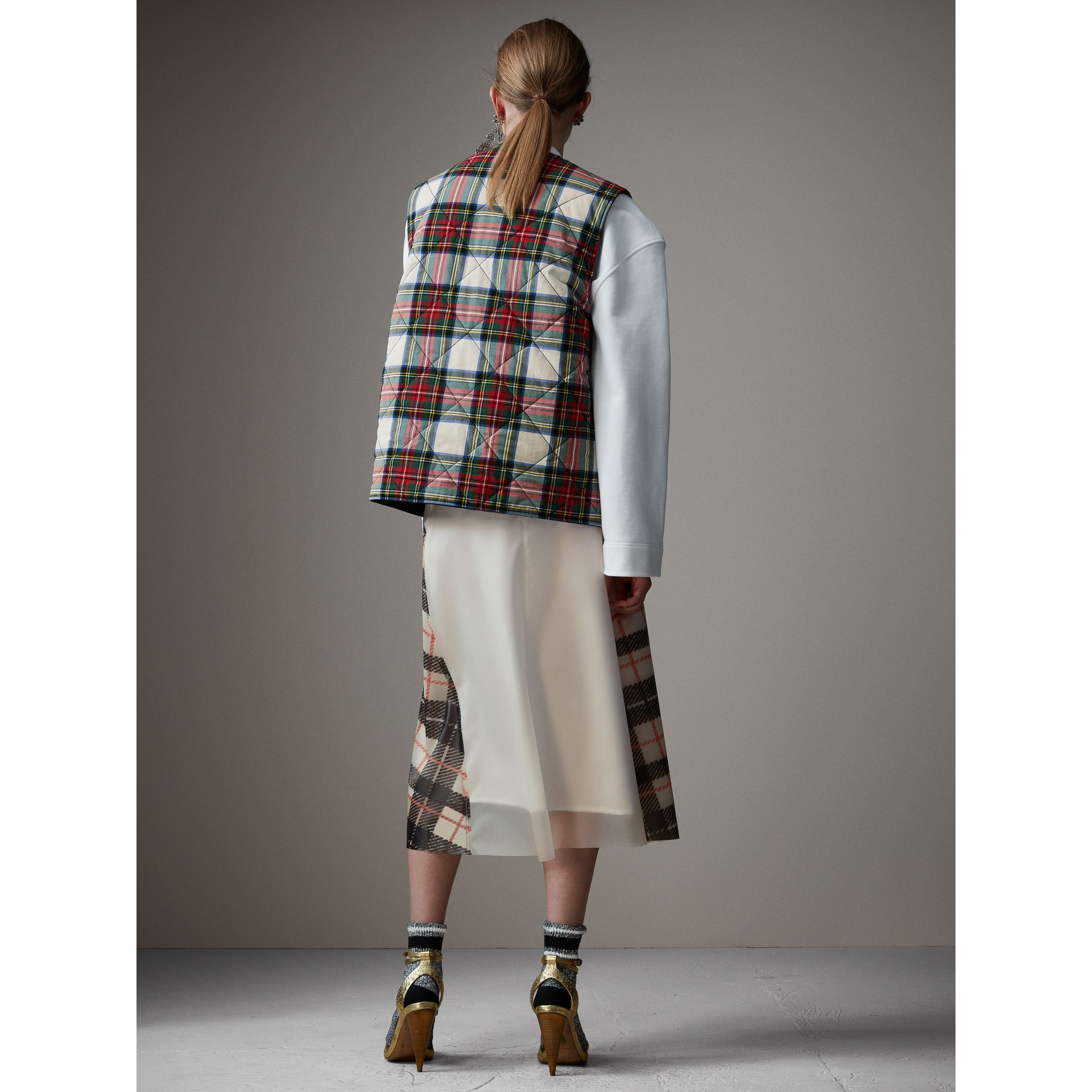 Silk-lined Tartan Plastic A-line Skirt in Black/beige - Women | Burberry - gallery image 2